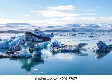 Icebergs floating in beautiful ice lake of Jokulsarlon, iceland