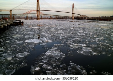 Icebergs floating down the Fraser River in New Westminster, BC