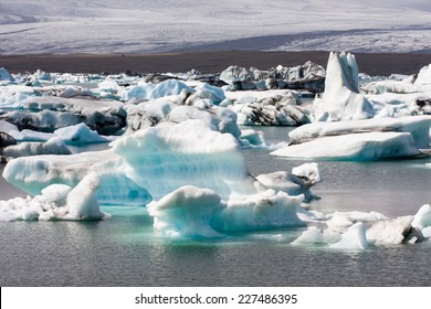 Icebergs floating in the glacial lagoon in Iceland