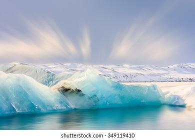 Icebergs floating in the Jokulsarlon Glacier Lagoon South Iceland