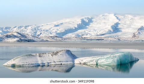 Icebergs floating in the Jokulsarlon Lagoon, South Iceland