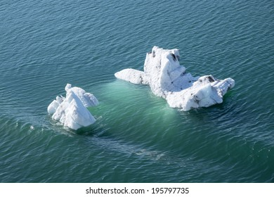 Icebergs Floating Near College Fjord Alaska