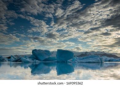 Icebergs in the Glacial Lake of Joekulsarlon, Iceland