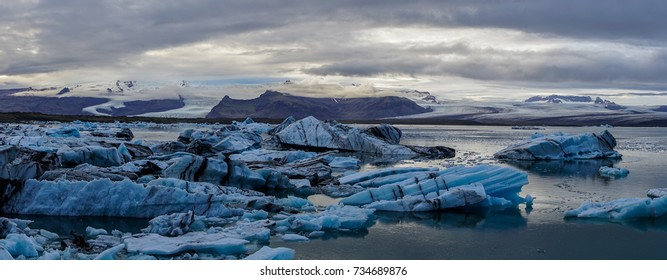 Icebergs from a glacier floating in a lagoon