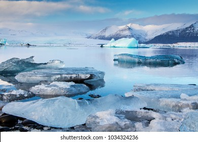 Icebergs and glacier Jokusarlon glacier lagoon, Iceland