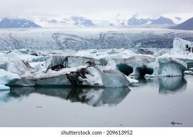 Icebergs in the glacier lagoon in Iceland kulsarlon