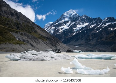 Icebergs in the Hooker Lake with Mount Cook as background, New Zealand