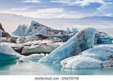 Icebergs in Jokulsarlon glacial lagoon, Iceland