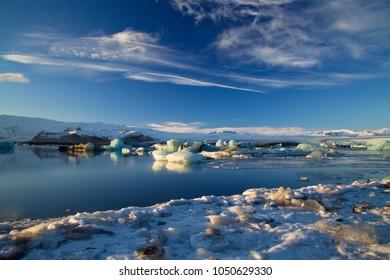 Icebergs in Jokulsarlon Glacial Lagoon in Skaftafell NP, Iceland