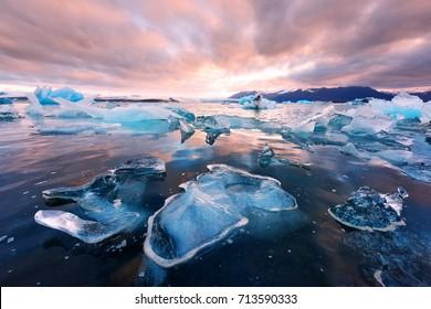 Icebergs in Jokulsarlon glacial lagoon. Vatnajokull National Park, southeast Iceland, Europe. Landscape photography