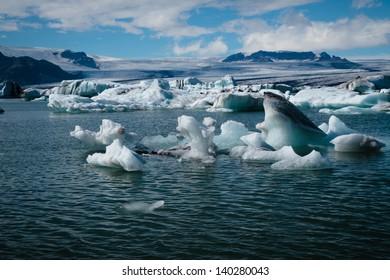 icebergs in jokulsarlon glacier lagoon in Iceland