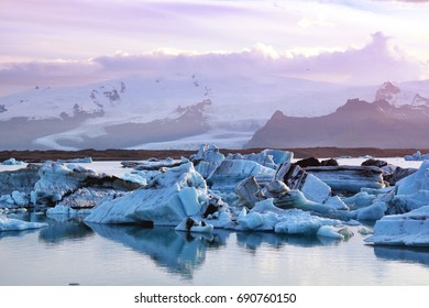 Icebergs in Jokulsarlon glacier lagoon in Iceland.