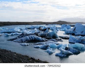 The icebergs in Jokulsarlon Glacier Lagoon in Iceland, July 7, 2017