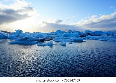 Icebergs in Jokulsarlon glacier lagoon near Hof