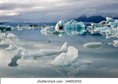 Icebergs in the jokulsarlon lagoon in Iceland