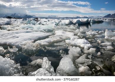 Icebergs in Jokulsarlon lagoon in Iceland, June