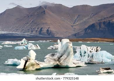 Icebergs of Jokulsarlon, a large glacial lake in southeast Iceland, Vatnajokull National Park