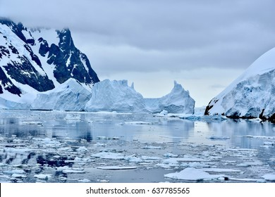 Icebergs lining the Lemaire Channel, Antarctica - creating blockage