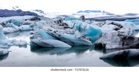 Icebergs melting at glacier lagoon, Iceland