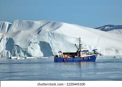 Icebergs near the coast of Greenland.