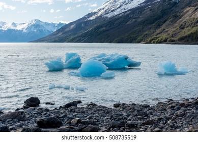 Icebergs near Perito Moreno Glacier on Lago Argentino in Argentina