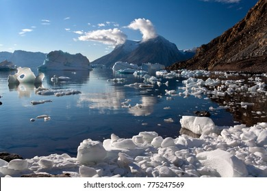 Icebergs in the Northwest Fjord in Scoresbysund on the east coast of Greenland.