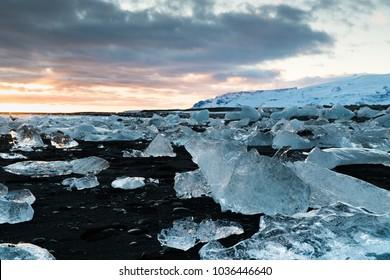 Icebergs on a black sand beach in Iceland