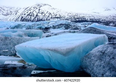 Icebergs on the edge of Svinafellsjokull glacier in southern Iceland.
