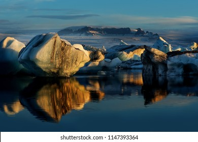 icebergs on Jokulsarlon Lake in Hofn, Iceland