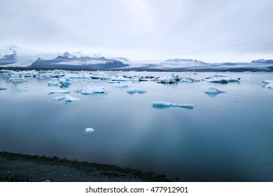 Icebergs on Jokulsarlon lake in the south Iceland