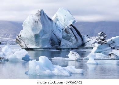 Icebergs on the lake