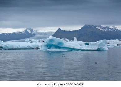 Icebergs on the surface of the lagoon. Nature of Iceland