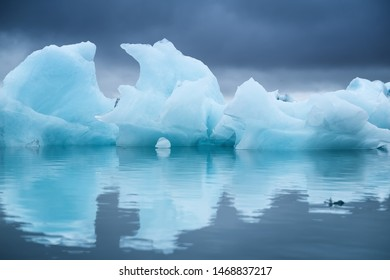 Icebergs in the Skaftafell National Park, Iceland. Ocean bay and icebergs. Reflection on the water surface. Landscapes in Iceland. Travel - image