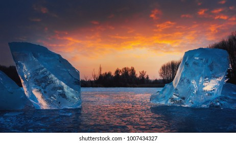 Icebergs with sunset from Hungary.