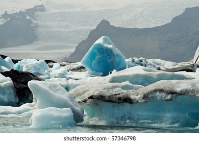 Icebergs which are born from the Vatnajökull glacier go their way to the sea passing Icelands famous Jökulsarlon Bay