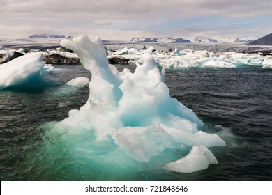 Icebergs which are born from the Vatnajoekull glacier go their way to the sea passing Icelands famous Joekulsarlon Bay