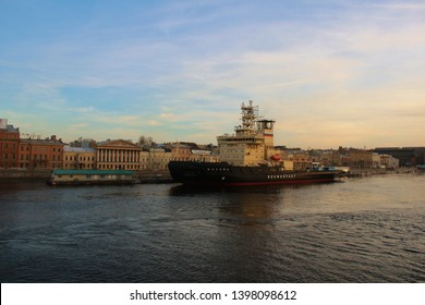 Icebreaker Moscow (Moskva) is diesel-electric icebreaker project 21900 serial number 601 lead or name ship, class leader. double-deck vessel, two full-turn steering wheels. St. Petersburg, Russia 2012