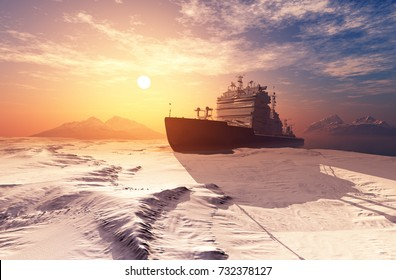 Icebreaker ship on the ice in the sea.,3d render