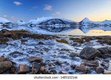 Ice-covered shore at the fjord on Senja Island, Troms County, Norway