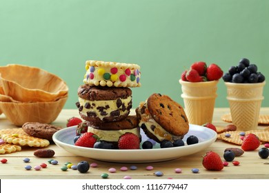 ice-cream biscuit and ice-cream cone background