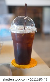 Iced Americano or black coffee in coffee shop