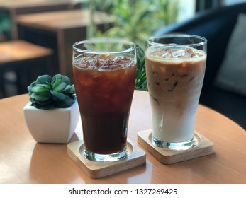 Iced americano and latte coffee