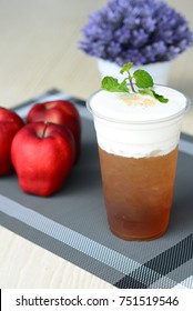 Iced apple tea topping with cream cheese