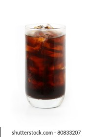 iced black coffee isolated on white