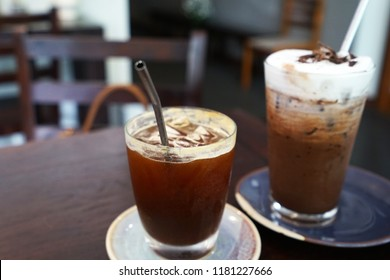 Iced black coffee with stainless steel straw