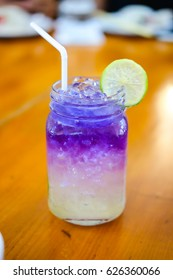 Iced butterfly pea flower blue tea with lemon, Thai herbal drink for healthy Life