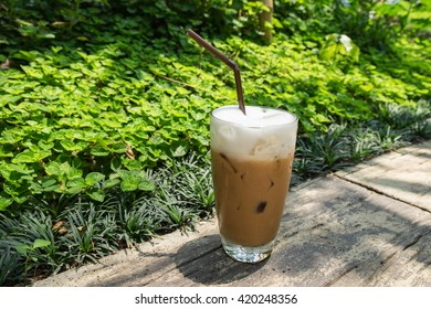 Iced Cappuccino, Iced coffee with soft cream in the garden