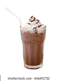 Iced Cocoa with whipping cream in glass. White Background isolated include clipping path.