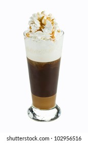 Iced cofee with whipped cream  isolated on white background