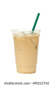 Iced coffee cafe latte in white background
